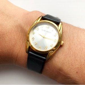 Vintage black leather & gold Nine West watch